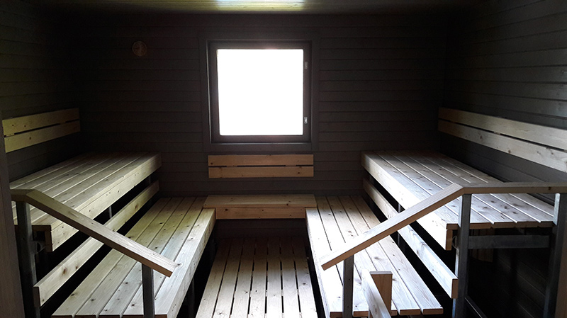 Sauna has a view to the lake
